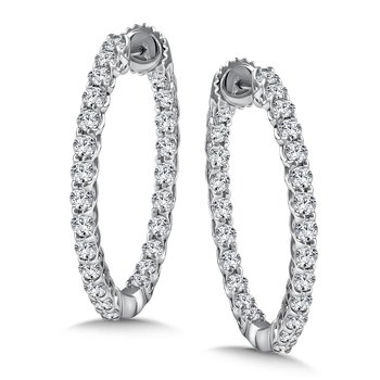 Diamond Reflection Hoops in 14K White Gold with Platinum Post (2.52 ct. tw.)