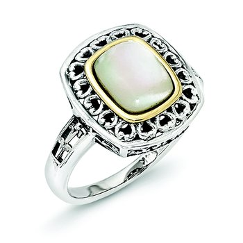 Sterling Silver w/14k Antiqued MOP Ring