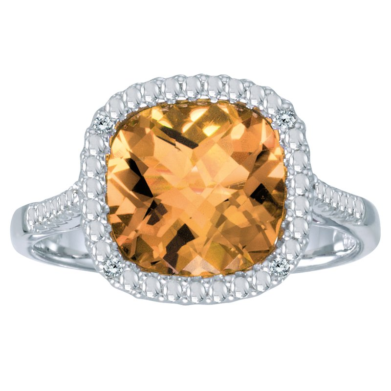 Color Merchants 14k White Gold Cushion Cut Citrine And Diamond Ring
