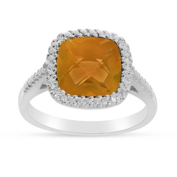 14k White Gold Cushion Cut Citrine And Diamond Ring