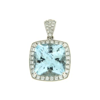 18k White Gold Pendant with Aqua & Diamond