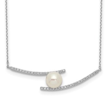 Sterling Silver Rhod-plat 7-8mm White Button FWC Pearl CZ Necklace
