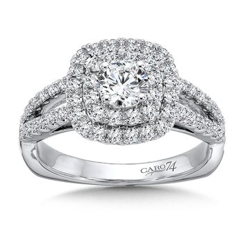Luxury Collection Cushion-shape Double Halo Engagement Ring with Side Stones in 14K White Gold (1/2ct. tw.)