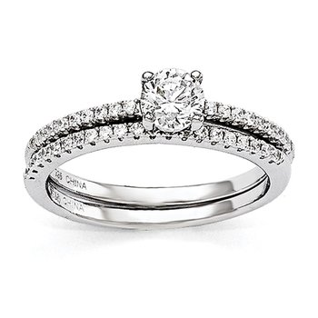 Sterling Silver Brilliant Embers Rhodium-plated CZ 2 Piece Wedding Ring Set