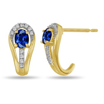10K YG and diamond and Blue Sapphire halo style birthstone earring