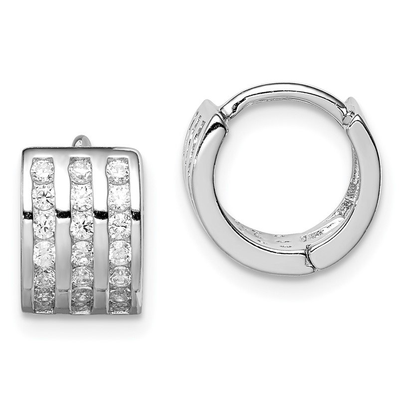 Quality Gold Sterling Silver Polished Rhodium-plated 3-row Hinged Hoop Earrings