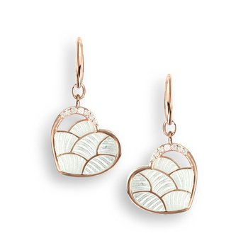 White Heart Wire Earrings.Rose Gold Plated Sterling Silver-White Sapphires