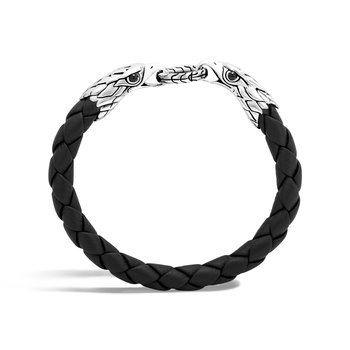 Legends Eagle Double Head 8MM Bracelet,  Silver and Leather