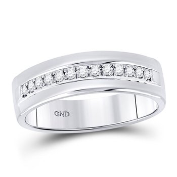 14kt White Gold Mens Round Diamond Single Row Wedding Band Ring 1/5 Cttw