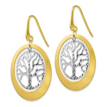 Leslie's Sterling Silver and Gold-tone Textured Tree Dangle Earrings