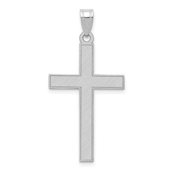 14k White Gold Florentine Satin Cross Pendant