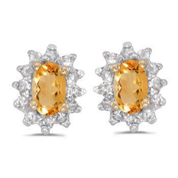 10k Yellow Gold Oval Citrine And Diamond Earrings