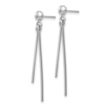 14k White Gold Polished Post Dangle Earrings