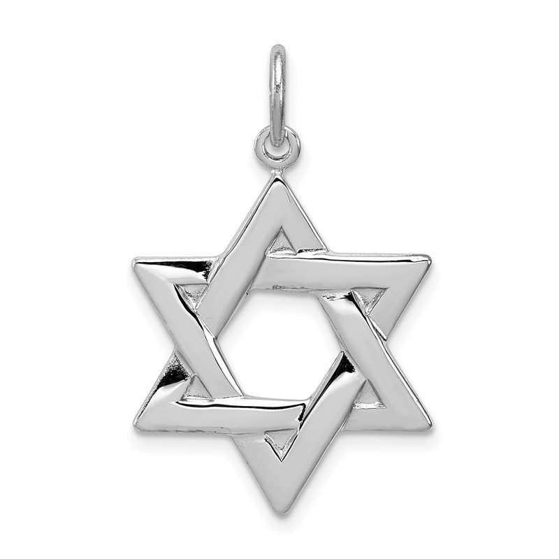Quality Gold Sterling Silver Rhodium-plated Star of David Charm