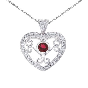 14k White Gold Heart Shaped Filigree Ruby and Diamond Pendant