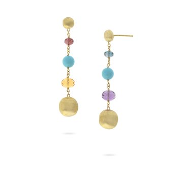 Africa Gemstone and Turquoise Drop Earrings