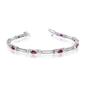 10k White Gold Natural Ruby And Diamond Tennis Bracelet