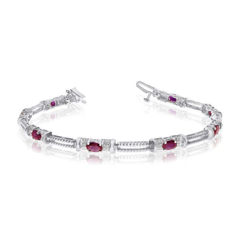 Color Merchants 10k White Gold Natural Ruby And Diamond Tennis Bracelet