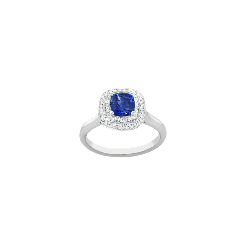 Spark Creations Double Halo Sapphire & Diamond Ring