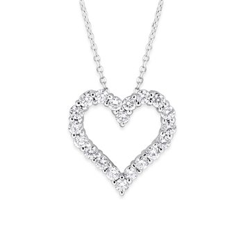 Diamond Heart Necklace in 14k White Gold with 20 Diamonds weighing .70ct tw.