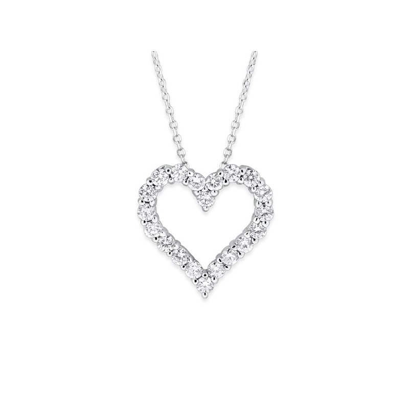 KC Designs Diamond Heart Necklace in 14k White Gold with 20 Diamonds weighing .70ct tw.