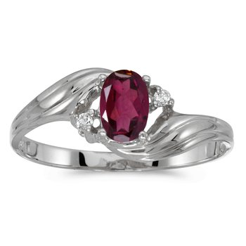 14k White Gold Oval Rhodolite Garnet And Diamond Ring
