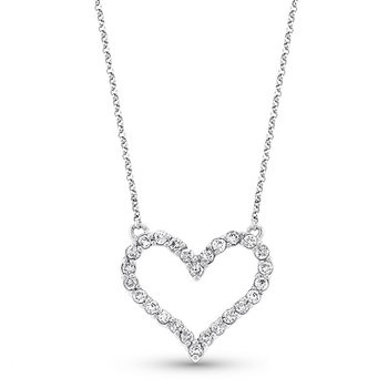 Diamond Heart Necklace in 14k White Gold with 26- Diamonds  .44ct tw.
