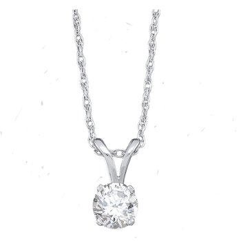14kt White Gold Womens Round Diamond Solitaire Pendant 1/2 Cttw