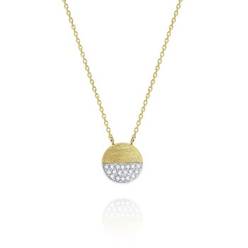 Brushed Gold and Diamond Pavé Half Circle Disc Necklace Set in 14 Kt. Gold