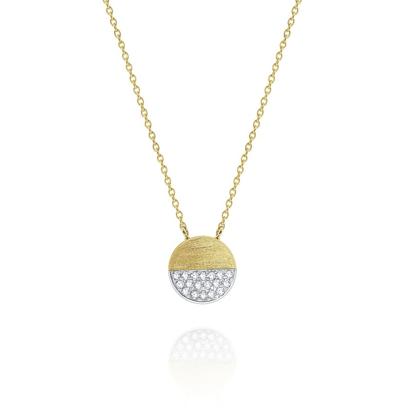 KC Designs Brushed Gold and Diamond Pavé Half Circle Disc Necklace Set in 14 Kt. Gold