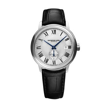 Men's Automatic Small Second Date Watch, 39mm Steel on leather strap, silver dial, black Roman numerals