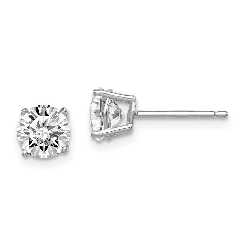 Quality Gold Sterling Silver Rhodium-plated Round CZ 6mm Post Earrings