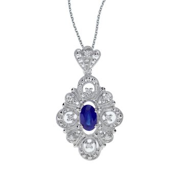 14k White Gold Sapphire and .08 ct Diamond Pendant
