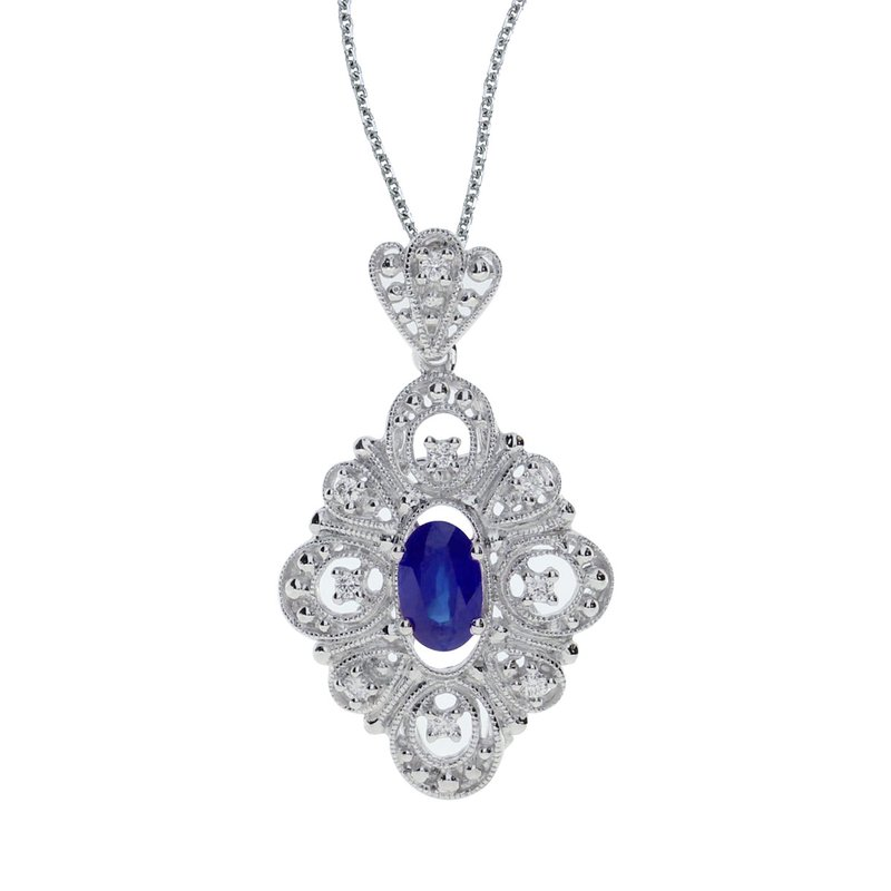 Color Merchants 14k White Gold Sapphire and .08 ct Diamond Pendant