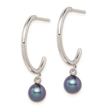 Sterling Silver Rhodium-plated 6-7mm Black FWC Pearl Earrings