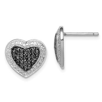 Sterling Silver Black Rhodium Plated Black CZ Heart Post Earrings