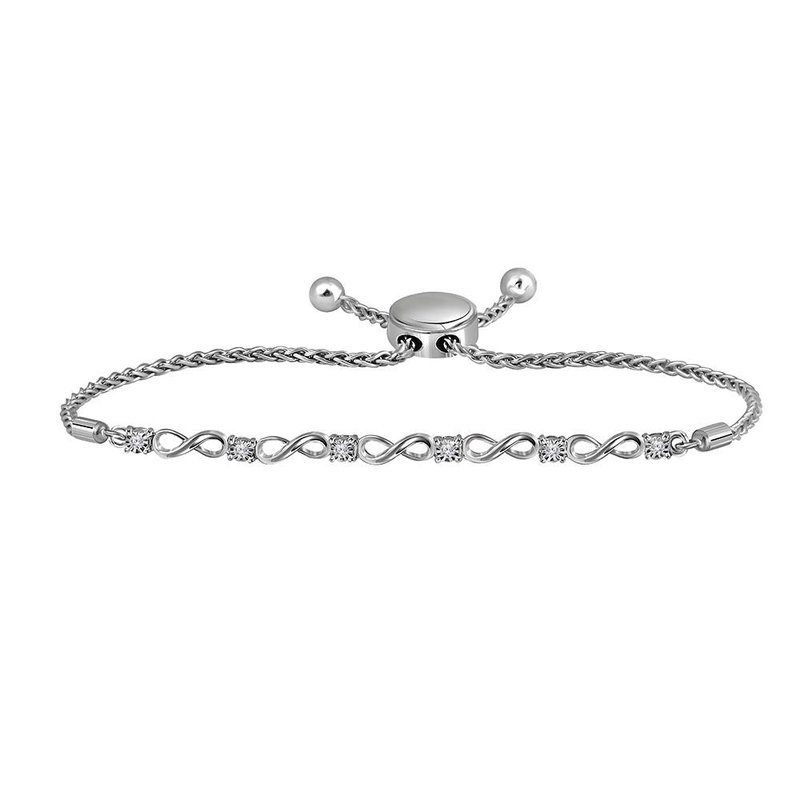 Gold-N-Diamonds, Inc. (Atlanta) Sterling Silver Womens Round Diamond Infinity Bolo Bracelet 1/12 Cttw