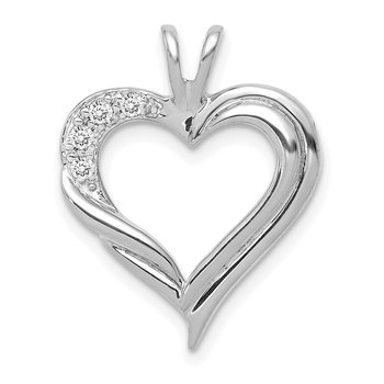 14k White Gold Diamond Fancy Heart Pendant