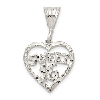 Sterling Silver HEART SWEET 16 Charm