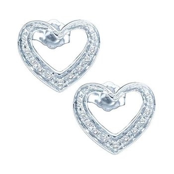 14kt White Gold Womens Round Diamond Heart Cluster Screwback Earrings 1/8 Cttw