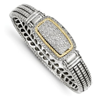 SS w/14k True Two-tone 1/4ct. Diamond Bangle Bracelet