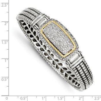 Sterling Silver w/14k 1/4ct. Diamond Bangle Bracelet