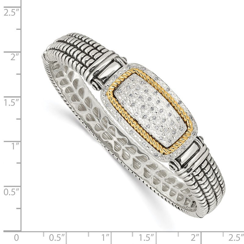 Shey Couture SS w/14k True Two-tone 1/4ct. Diamond Bangle Bracelet