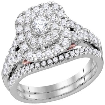 14kt White Gold Womens Round Diamond Bellissimo Double Halo Bridal Wedding Engagement Ring Band Set 1.00 Cttw