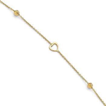 Leslie's 14K Polished and D/C Heart w/1in ext. Anklet
