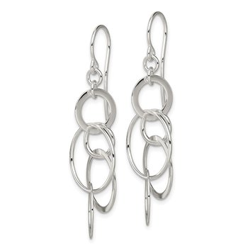 Sterling Silver Polished Circles Shepherd Hook Earrings