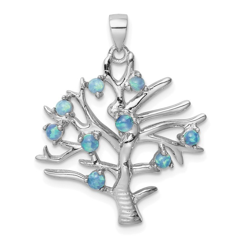 Quality Gold Sterling Silver Created Opal Tree Pendant