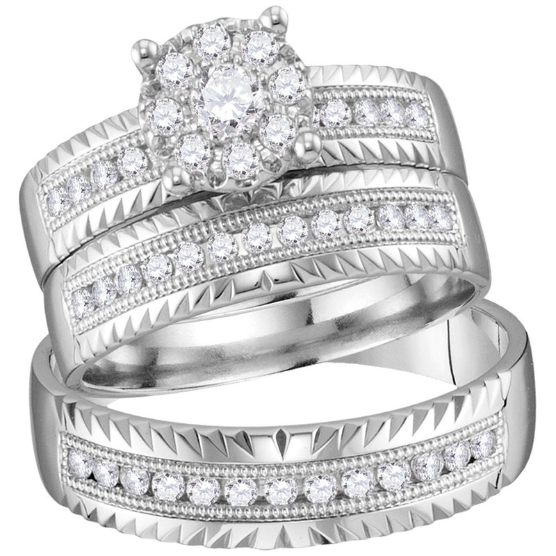 Kingdom Treasures 14kt White Gold His & Hers Round Diamond Cluster Matching Bridal Wedding Ring Band Set 3/4 Cttw