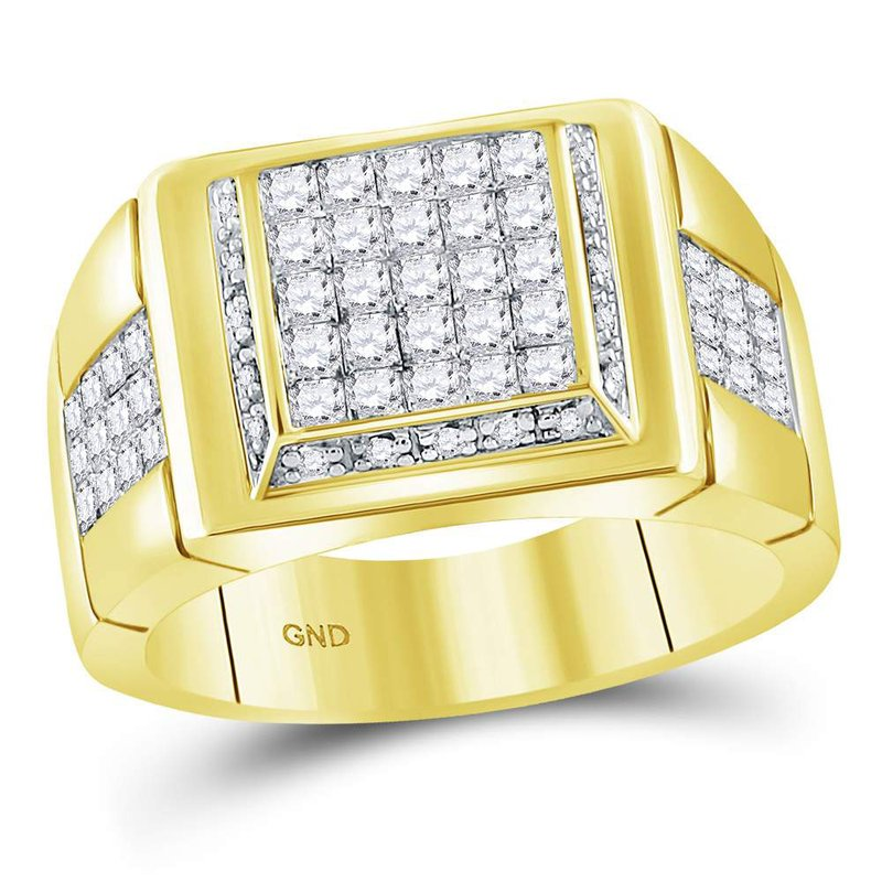 Gold-N-Diamonds 10kt Yellow Gold Mens Princess Diamond Square Cluster Ring 1-5/8 Cttw