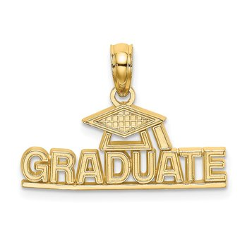 14K Polished GRADUATE Under Cap Charm